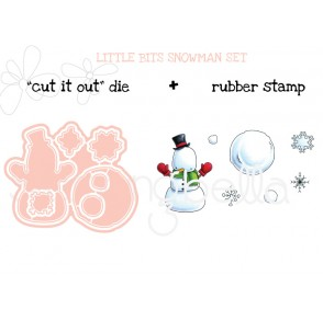 "LITTLE BITS SNOWMAN SET ""cut it out"" die + rubber stamp BUNDLE (save 15%)"