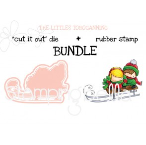 "THE LITTLES TOBOGGANING ""cut it out"" die + rubber stamp BUNDLE"