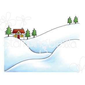 WINTER BACKDROP RUBBER STAMP
