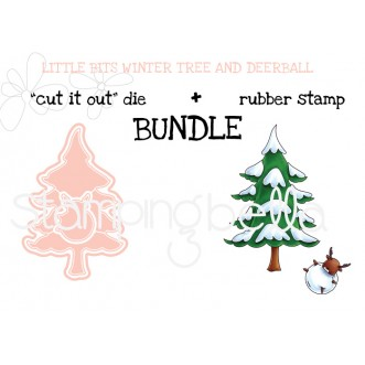 """LITTLE BITS WINTER TREE and DEERBALL """"cut it out"""" dies + rubber stamp BUNDLE (save 15%)"""