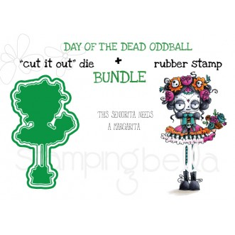 "DAY OF THE DEAD ODDBALL RUBBER STAMP + ""CUT IT OUT"" DIE BUNDLE (SAVE 15%)"