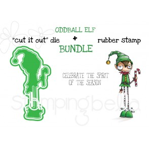"ODDBALL BOY ELF RUBBER STAMP + ""CUT IT OUT"" DIE BUNDLE (save 15%)"