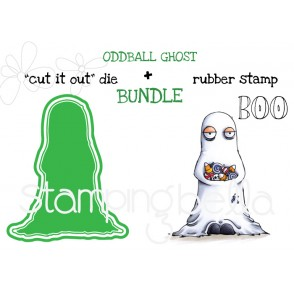 "ODDBALL GHOST RUBBER STAMP + ""CUT IT OUT"" DIE BUNDLE (SAVE 15%)"