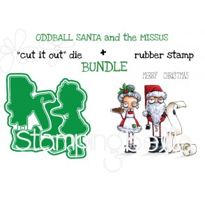 "ODDBALL SANTA AND THE MISSUS RUBBER STAMP + ""CUT IT OUT"" DIE BUNDLE (SAVE 15%)"