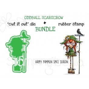 "ODDBALL SCARECROW RUBBER STAMP + ""CUT IT OUT"" DIE BUNDLE (SAVE 15%)"