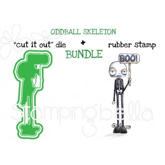 "ODDBALL SKELETON RUBBER STAMP + ""CUT IT OUT"" DIE BUNDLE (SAVE 15%)"