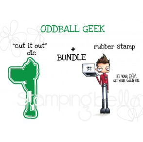 """ODDBALL GEEK RUBBER STAMP + """"CUT IT OUT"""" DIE BUNDLE"""