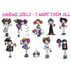 ODDBALL GIRLS - I WANT THEM ALL! (set of 9 RUBBER STAMPS INCLUDES SENTIMENTS)