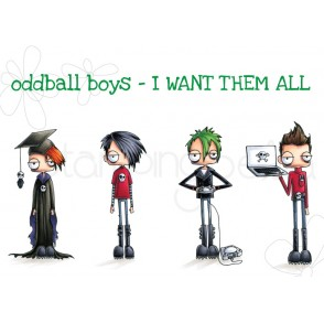 ODDBALL BOYS - I WANT THEM ALL RUBBER STAMPS (INCLUDES SENTIMENTS)