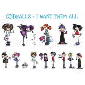 ODDBALLS- I WANT THEM ALL! (13 RUBBER STAMPS-INCLUDES SENTIMENTS)