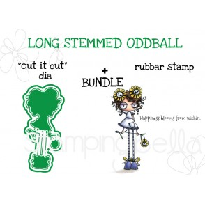 "LONG STEMMED ODDBALL RUBBER STAMP + ""CUT IT OUT"" DIE BUNDLE"