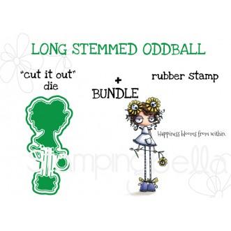 "LONG STEMMED ODDBALL RUBBER STAMP + ""CUT IT OUT"" DIE BUNDLE"