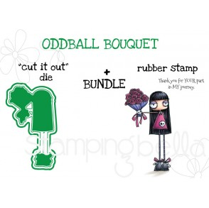 """ODDBALL BOUQUET RUBBER STAMP + """"CUT IT OUT"""" DIE BUNDLE"""