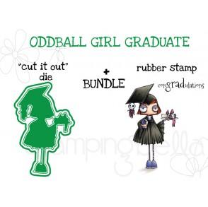 "ODDBALL GIRL GRADUATE RUBBER STAMP + ""CUT IT OUT"" DIE BUNDLE"