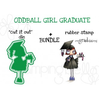 "ODDBALL GIRL GRADUATE RUBBER STAMP + ""CUT IT OUT"" DIE BUNDLE"
