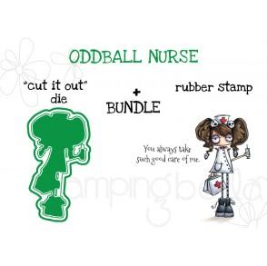 "ODDBALL NURSE RUBBER STAMP + ""CUT IT OUT"" DIE BUNDLE"