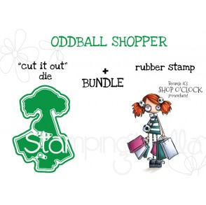 "ODDBALL SHOPPER RUBBER STAMP + ""CUT IT OUT"" DIE BUNDLE"