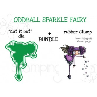 """ODDBALL SPARKLE FAIRY RUBBER STAMP + """"CUT IT OUT"""" DIE BUNDLE"""