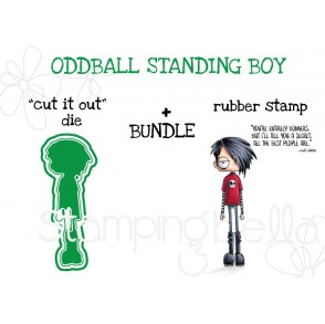 """ODDBALL STANDING BOY RUBBER STAMP + """"CUT IT OUT"""" DIE BUNDLE"""