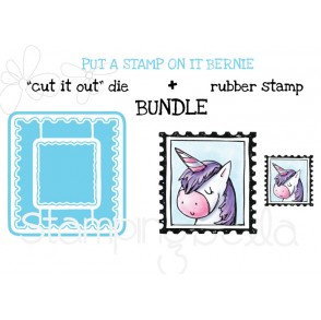 "PUT A STAMP ON IT BERNIE RUBBER STAMP + ""CUT IT OUT"" DIES BUNDLE (save 15%)"
