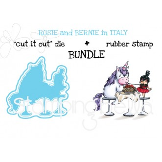 "Rosie and Bernie in ITALY RUBBER STAMP and ""CUT IT OUT"" DIE BUNDLE (save 15%)"