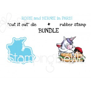 "Rosie and Bernie in PARIS RUBBER STAMP + ""CUT IT OUT"" bundle (SAVE 15%)"