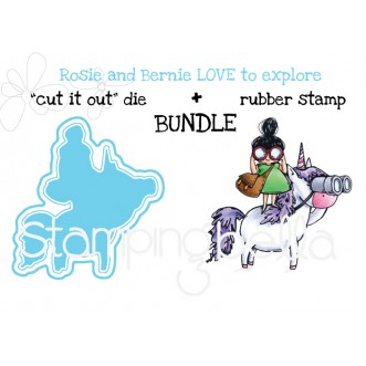 "Rosie and Bernie LOVE TO EXPLORE RUBBER STAMP + ""CUT IT OUT"" DIE BUNDLE (save 15%)"