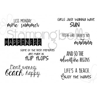 SUMMER SENTIMENT set  (SET OF 8 CLING MOUNTED rubber stamps)