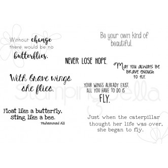 BUTTERFLY SENTIMENT SET rubber stamps