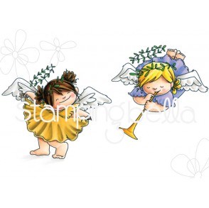 ANGEL SQUIDGIES CURTSY and TRUMPET rubber stamps
