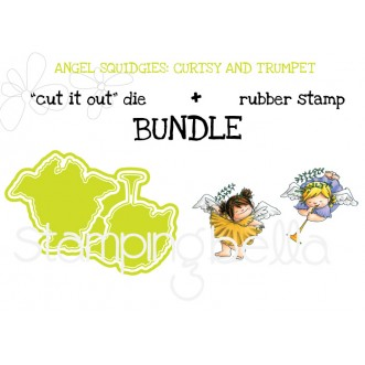 "ANGEL SQUIDGIES CURTSY and TRUMPET ""cut it out"" die + rubber stamp BUNDLE (save 15%)"