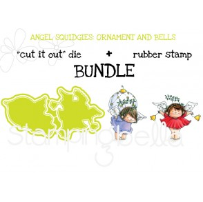 "ANGEL SQUIDGIES ORNAMENT and BELLS ""cut it out dies"" + rubber stamp BUNDLE (save 15%)"