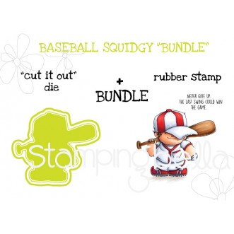 "BASEBALL SQUIDGY RUBBER STAMP + ""CUT IT OUT"" DIE BUNDLE"