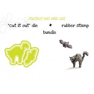 "squidgy BAT AND CAT RUBBER STAMP + ""CUT IT OUT"" DIE BUNDLE (SAVE 15%)"
