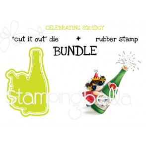 "CELEBRATING SQUIDGY ""cut it out"" die + rubber stamp BUNDLE (save 15%)"