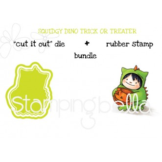 """squidgy DINO TRICK OR TREATER RUBBER STAMP + """"CUT IT OUT"""" die BUNDLE (save 15%)"""
