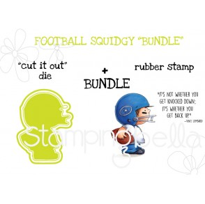 "FOOTBALL SQUIDGY RUBBER STAMP + ""CUT IT OUT"" DIE BUNDLE"