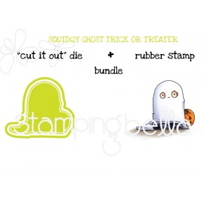 "squidgy GHOST TRICK OR TREATER RUBBER STAMP + ""CUT IT OUT"" DIE BUNDLE (save 15%)"