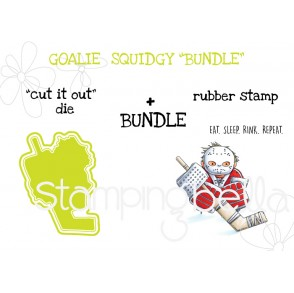 "GOALIE SQUIDGY RUBBER STAMP + ""CUT IT OUT"" DIE BUNDLE"