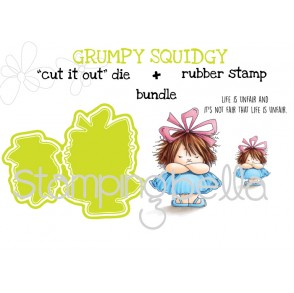"GRUMPY squidgy RUBBER STAMPS + ""CUT IT OUT"" dies BUNDLE (save 15%)"