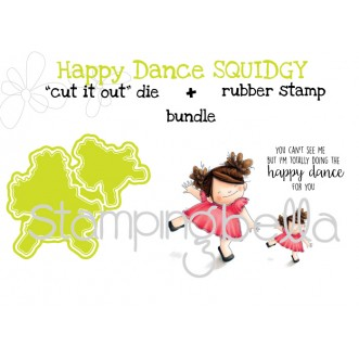 """Happy dance SQUIDGY RUBBER STAMP + """"CUT IT OUT"""" DIE BUNDLE (save 15%)"""