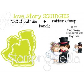 "LOVE STORY SQUIDGIES RUBBER STAMP + ""CUT IT OUT"" DIES BUNDLE (save 15%)"