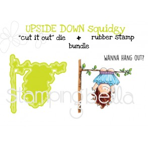 """UPSIDE DOWN SQUIDGY RUBBER STAMP + """"CUT IT OUT"""" DIE BUNDLE (save 15%)"""