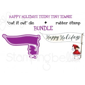"HAPPY HOLIDAYS TEENY TINY TOWNIE RUBBER STAMP + ""CUT IT OUT"" DIE BUNDLE (SAVE 15%)"