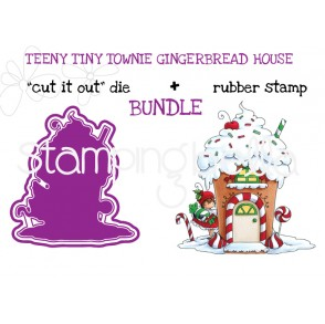 "TEENY TINY TOWNIE GINGERBREAD HOUSE RUBBER STAMP + ""CUT IT OUT"" DIE BUNDLE (SAVE 15%)"