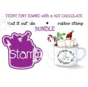 "TEENY TINY TOWNIE WITH A HOT CHOCOLATE RUBBER STAMP + ""CUT IT OUT"" DIE BUNDLE (SAVE 15%)"
