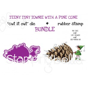 "TEENY TINY TOWNIE WITH A PINE CONE RUBBER STAMP AND ""CUT IT OUT"" DIE BUNDLE (SAVE 15%)"