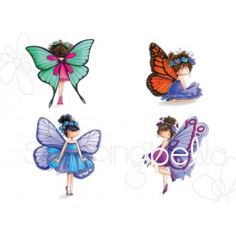 TINY TOWNIE BUTTERFLY SET I WANT IT ALL rubber stamps  (set of 4 images)- save 15%!