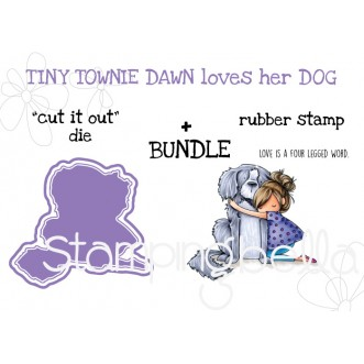 "TINY TOWNIE DAWN loves her dog RUBBER STAMP + ""CUT IT OUT"" DIE BUNDLE"