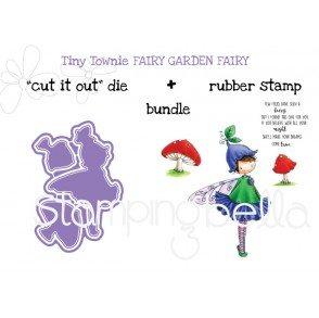 "Tiny Townie FAIRY GARDEN FAIRY ""CUT IT OUT"" die + RUBBER STAMP BUNDLE (save 15%)"